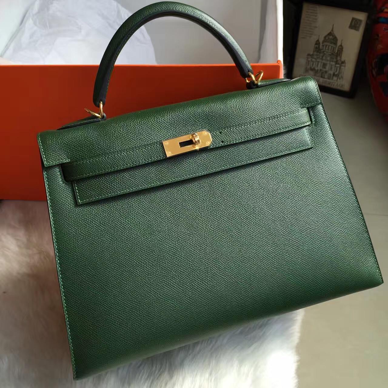 Hermes Classic Handbag Epsom Calfskin Leather  Sellier Kelly Bag32CM Multi Color