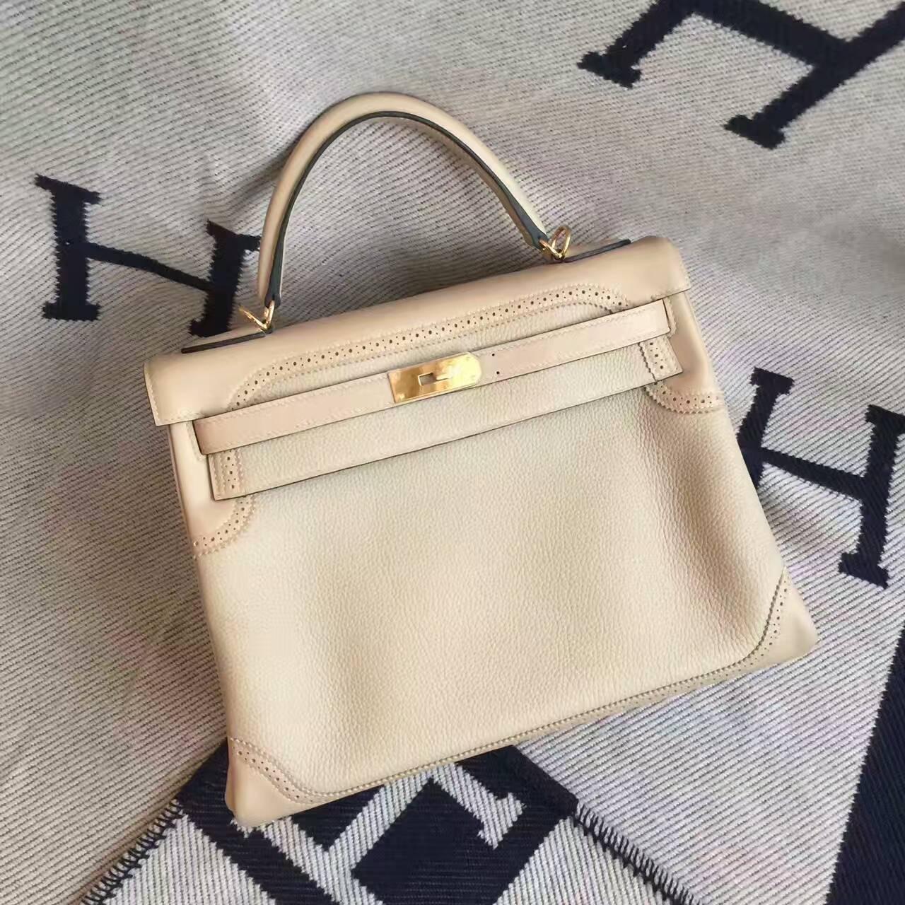 Hot Sale Hermes CK81 Gris Tourterelle Togo Leather Ghillie Kelly Bag 32cm