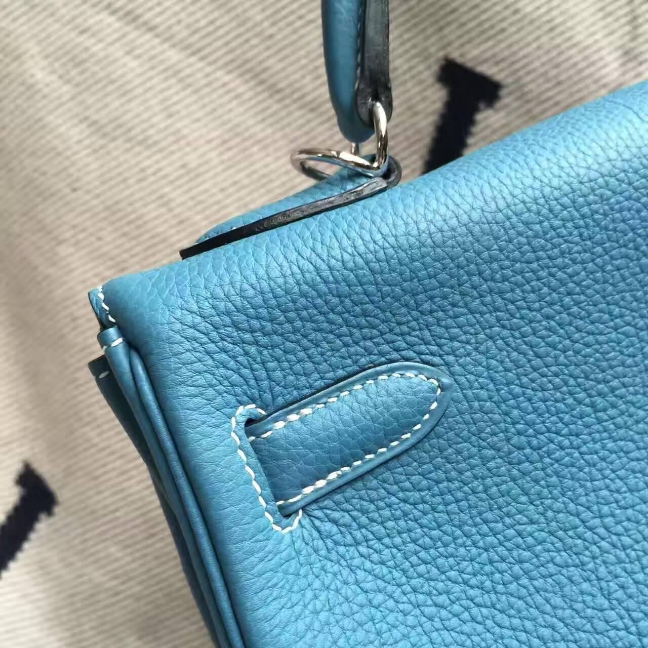 High Quality Hermes CK75 Blue Jean Togo Calfskin Leather Kelly Bag 32CM