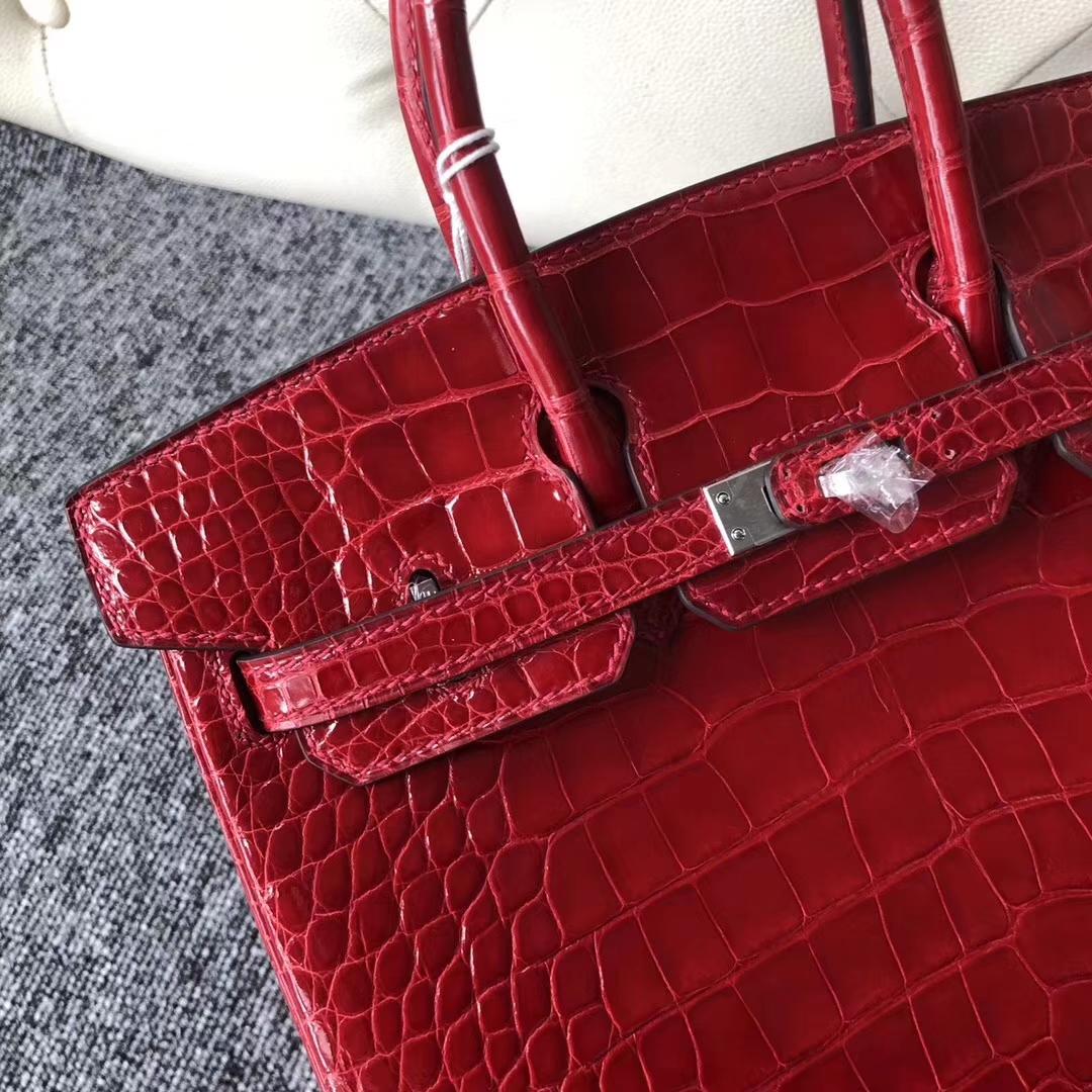 Stock Hermes CK95 Braise Alligator Shiny Crocodile Birkin25CM Bag Silver Hardware