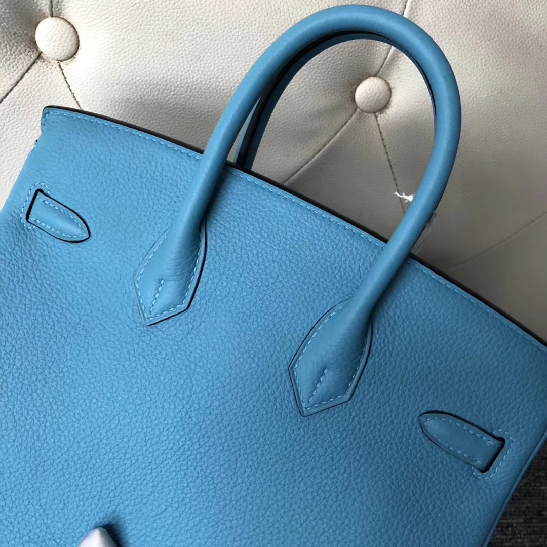 Stock Hermes Togo Calf Birkin25CM Tote Bag in P3 Bleu Du Nord Gold Hardware