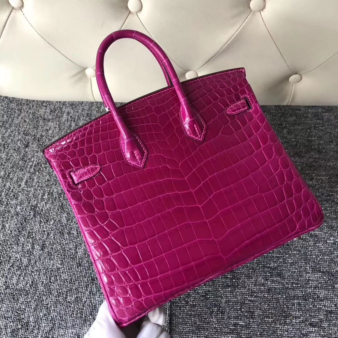 Stock Hermes Shiny Crocodile Birkin Bag25CM in J5 Rose Scheherazade Silver Hardware