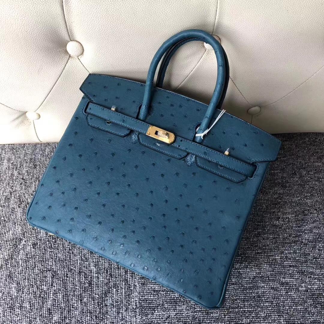 Stock Hermes Ostrich Leather Birkin Bag25CM in 7C Blue Cobalt Gold Hardware