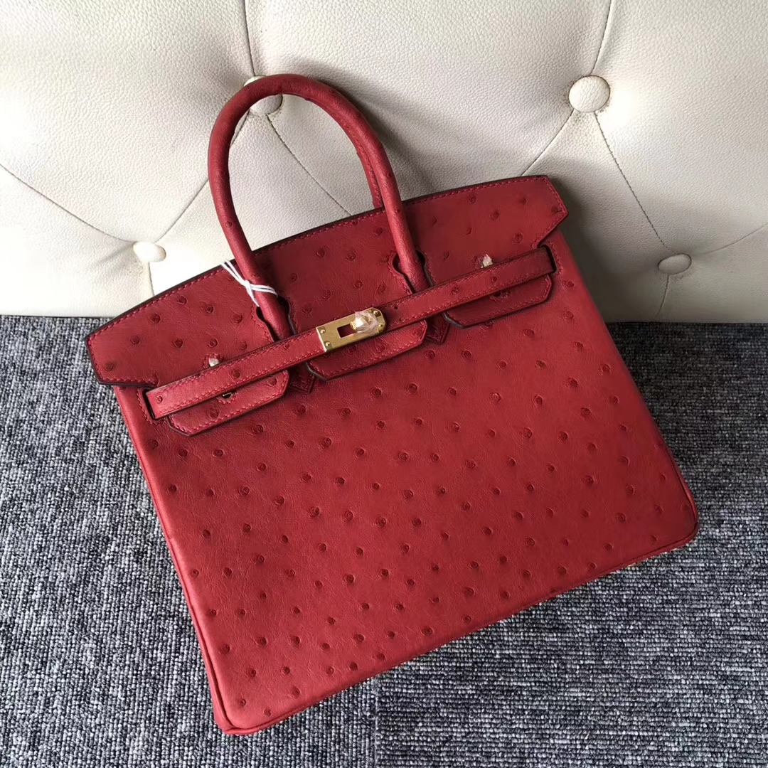 Stock Wholesale Hermes Q5 Rouge Casaque Ostrich Leather Birkin25CM Bag