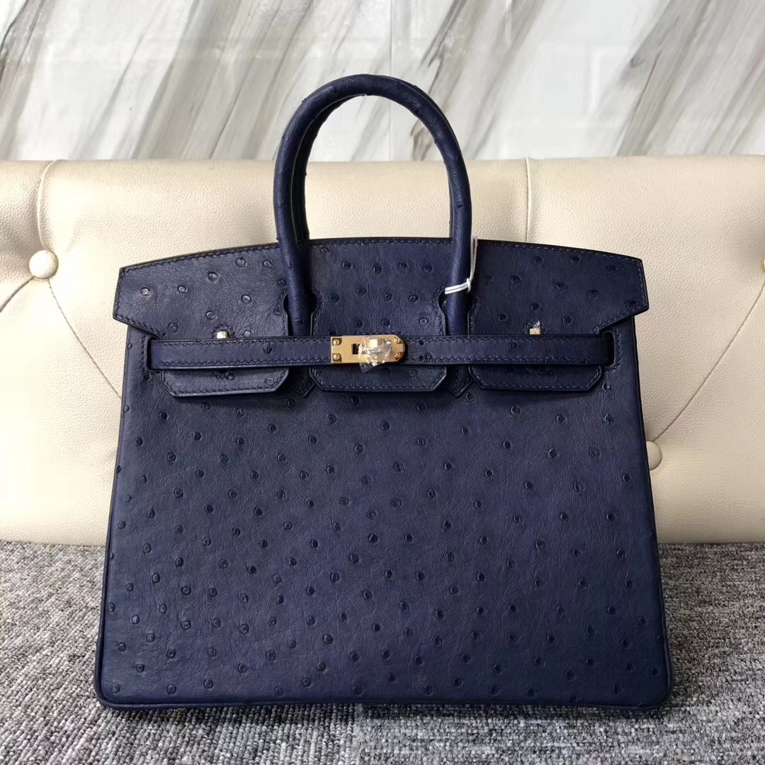 Stock Discount Hermes Ostrich Birkin Bag25CM in 7K Blue Saphir Gold Hardware
