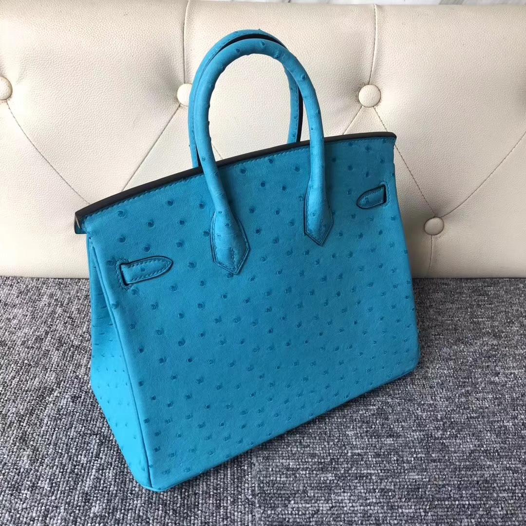 Stock Hermes 3P Blue Attol Ostrich Birkin25cm Women's Bag Silver Hardware