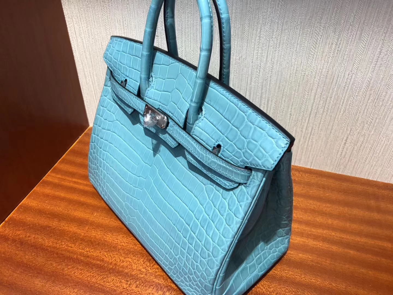 Stock Noble Hermes 3Z Blue Saint-cyr Crocodile Matt Birkin25CM Bag Silver Hardware