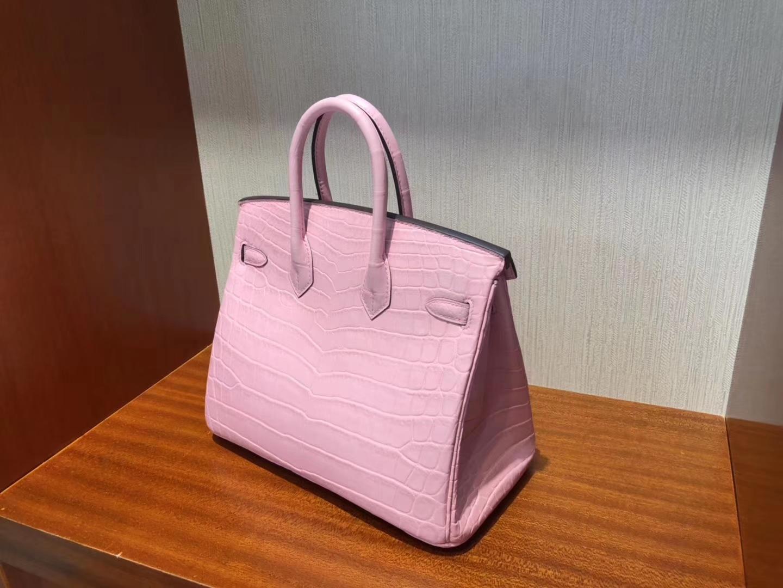 Stock Pretty Hermes Crocodile Matt Leather Birkin Bag25CM in Rose Barbie Silver Hardware