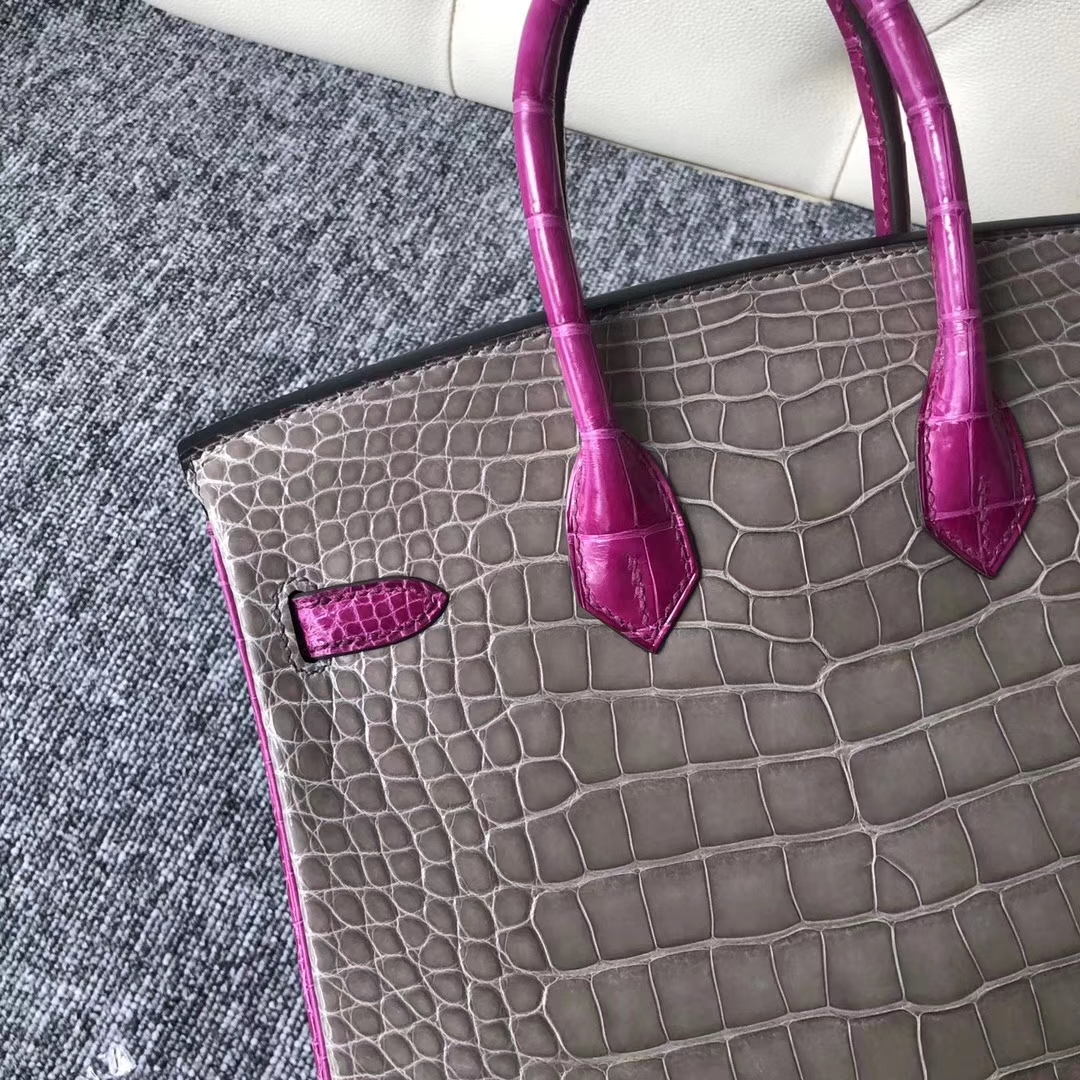 New Hermes CK81 Gris Tourterelle/J5Rose Scheherazade Shiny Crocodile Birkin Bag25CM