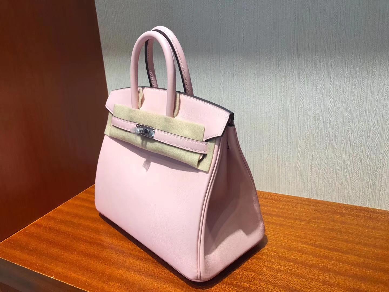 Stock Hermes 3Q Rose Sakura Swift Calf Birkin25CM Bag Gold/Silver Hardware