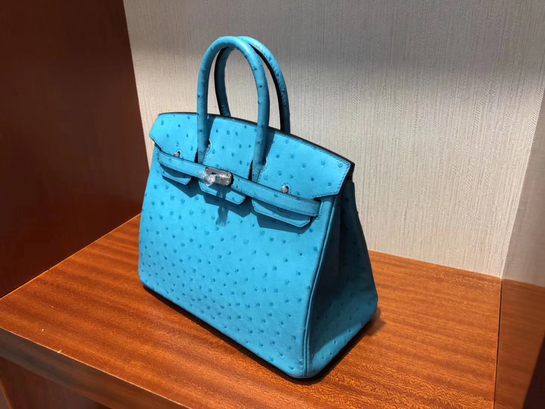 Noble Hermes 3P Blue Attol KK Ostrich Birkin Bag25CM Silver Hardware