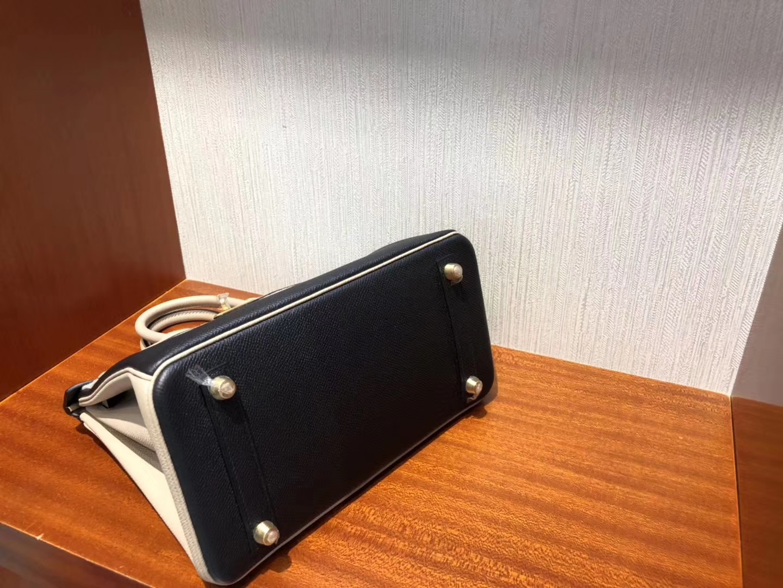 Fashion Hermes CK89 Noir/S2 Grey Trench Epsom Calf Birkin25CM Bag Gold Hardware