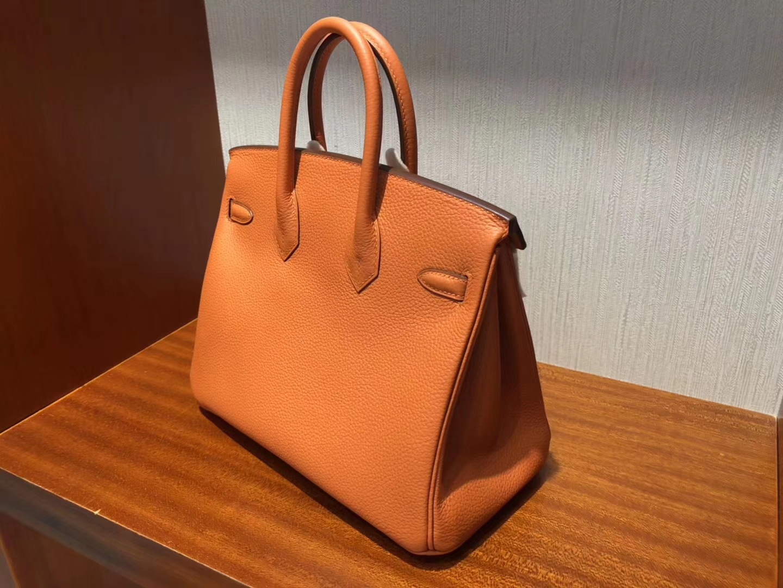 Discount Hermes 93Orange Togo Calf Birkin Bag25CM Gold Hardware