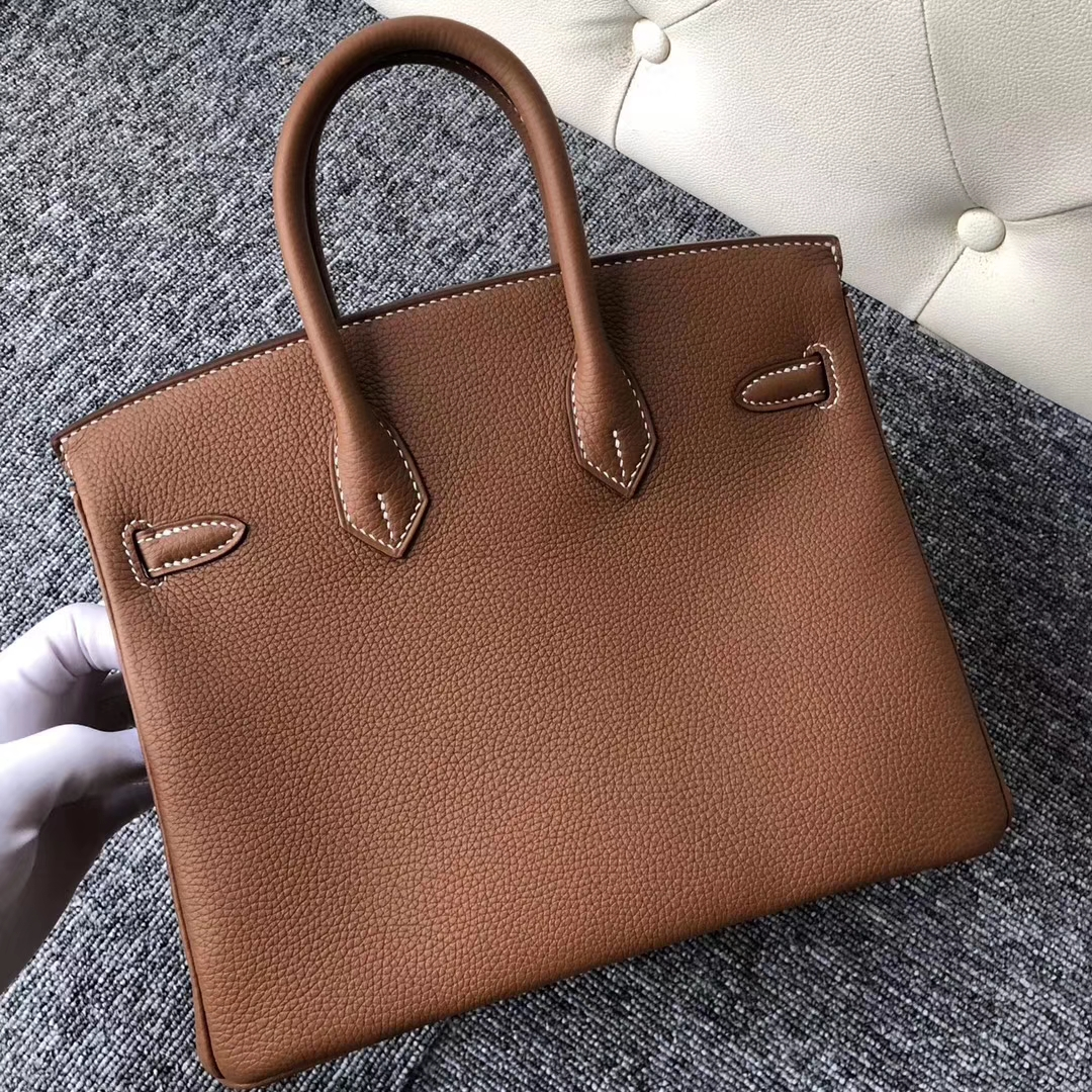 Stock Hermes CK37 Gold Togo Calf Birkin25CM Women's Tote Bag Gold Hardware