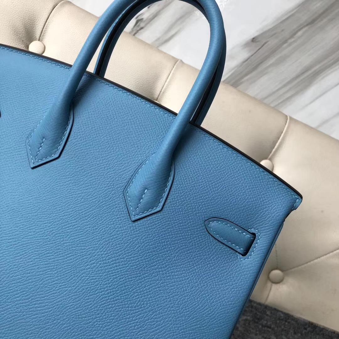 Stock Hermes P3 Blue de Nord Epsom Calf Birkin25CM Women's Bag Silver Hardware