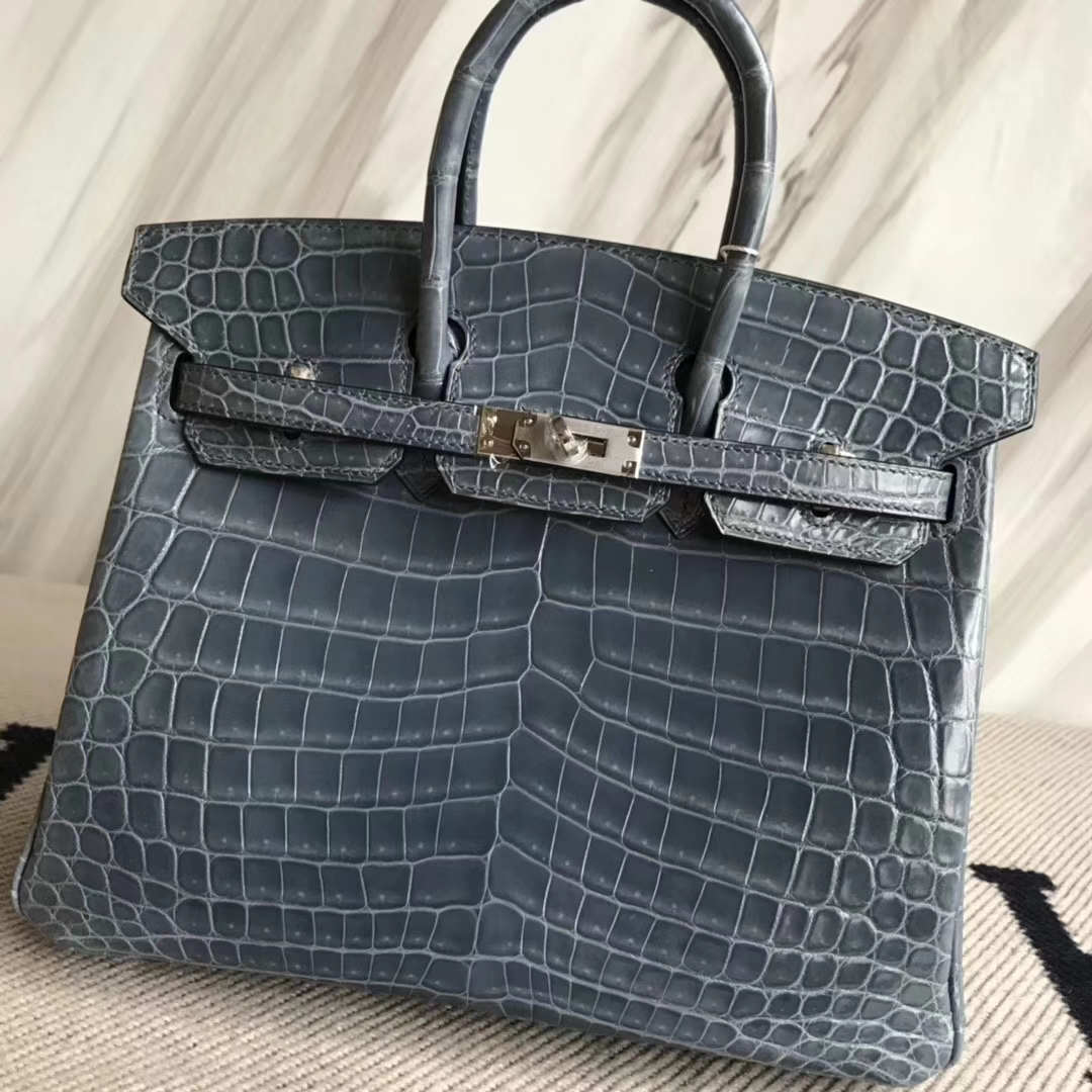 Stock Discount Hermes Blue Jean Shiny CrocodileBirkin25CM Bag Silver Hardware