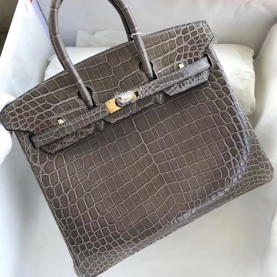 Fashion Hermes ShinyCrocodile Birkin Bag25CM Women's Bag in CK81 Gris T Gold Hardware