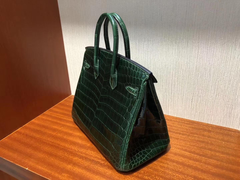 Wholesale Hermes CK67 Vert Fonce ShinyCrocodile Birkin25CM Bag Gold Hardware