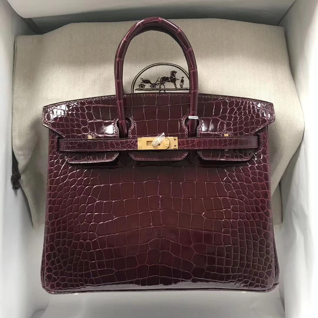Luxury Hermes ShinyCrocodile Birkin25CM Tote Bag in CK57 Bordeaux Gold/Silver Hardware