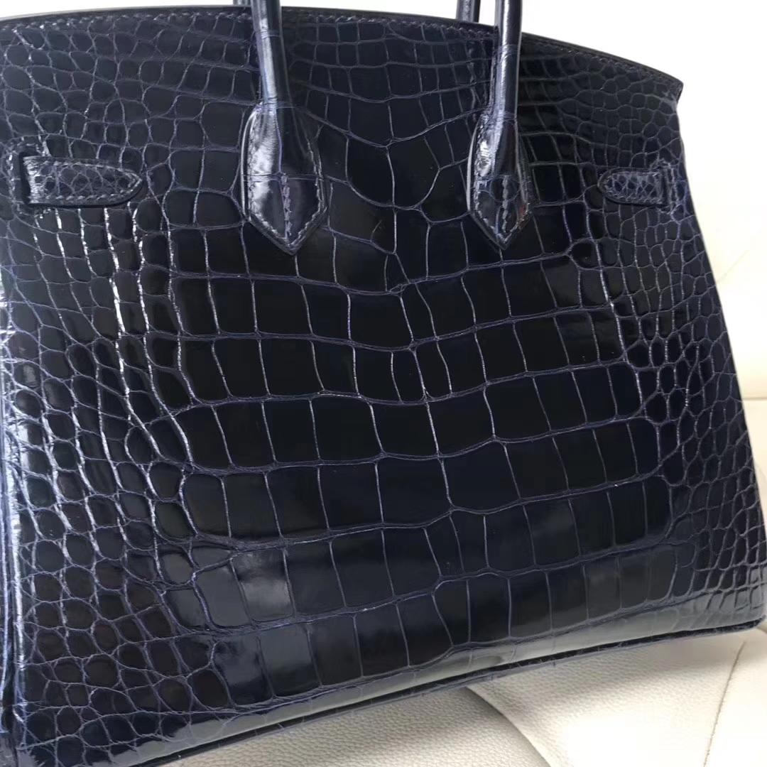 Stock Hermes 7K Blue Saphir Alligator ShinyCrocodile Birkin25CM Bag Silver Hardware