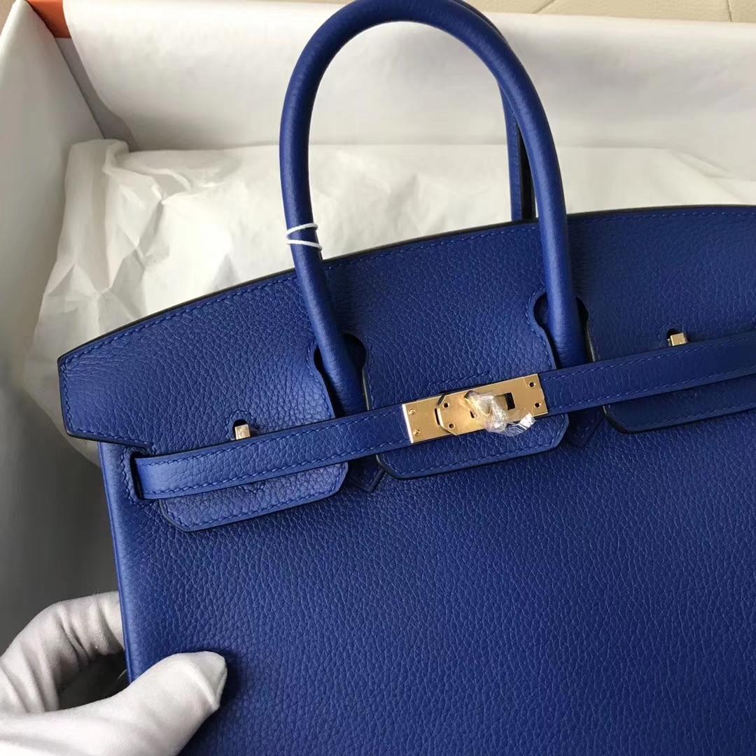 New Arrival Hermes Togo Calf Birkin Bag25CM in I7 Blue Zellige Gold Hardware
