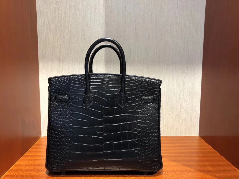 Wholesale Hermes Matt Crocodile Birkin25CM Tote Bag in CK89 Noir Gold Hardware