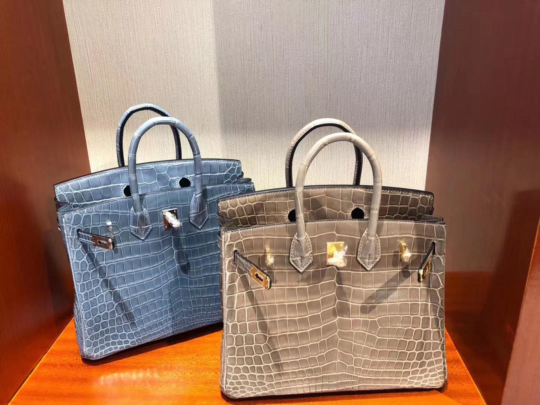 Stock Hermes Shiny Crocodile Birkin25CM Women's Bag CK75 Blue Jean Silver Hardware