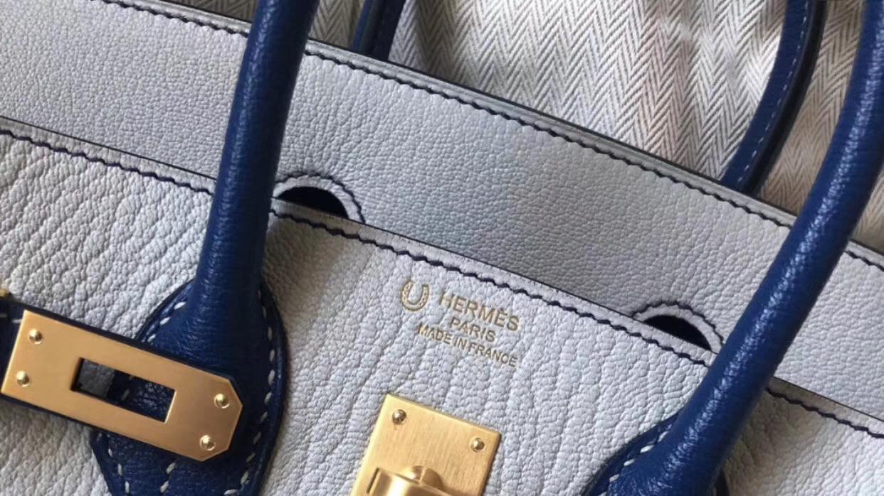 Discount Hermes Blue Glacier/Blue Saphir Hss Chever Birkin Bag25CM Gold Hardware