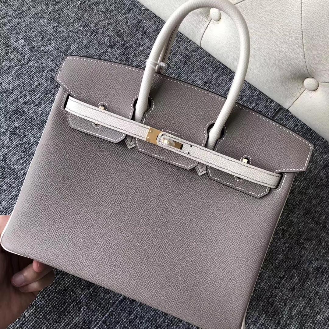 Fashion Hermes CK18 Gris Etoupe/CK10 Craie White Epsom Birkin Bag25CM Gold Hardware