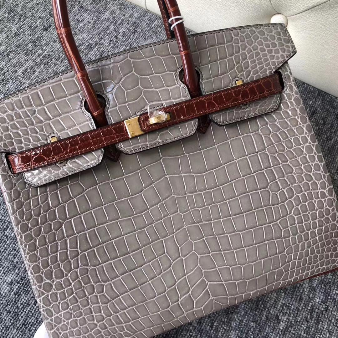 Luxury Hermes CK81 Gris T/CK31 Miel Shiny Crocodile Birkin Bag25cm Gold Hardware