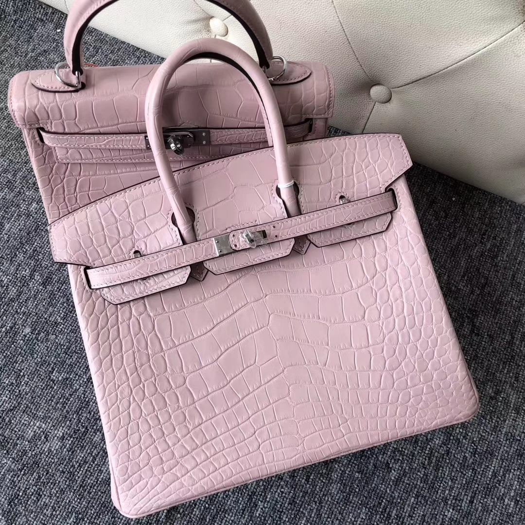 Pretty Hermes Barbie Pink Matt Crocodile Birkin Bag25CM Silver Hardware