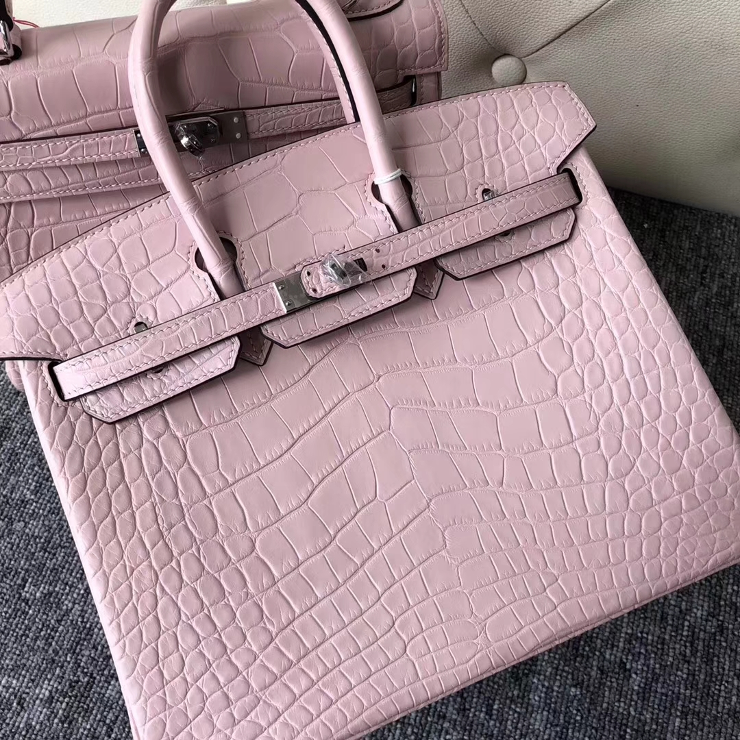 Pretty Hermes Barbie Pink Matt Crocodile Birkin Bag25CM Silver Hardware