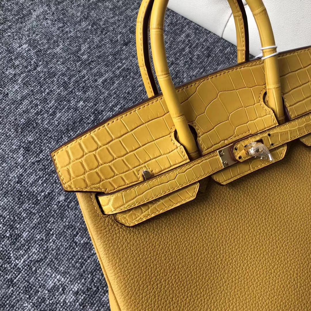 Customize Hermes Birkin Bag25CM Ambre Crocodile/Togo Leather Gold Hardware