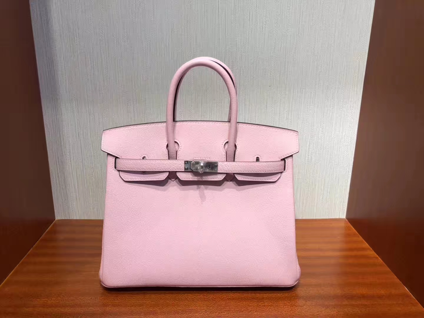 Discount Hermes Chevre Leather Birkin25CM Bag in 1Q Rose Confetti Silver Hardware