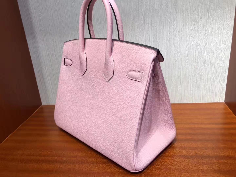 Discount Hermes Chevre Leather Birkin25CM Bag in 1Q Rose Confetti Silver Hardware
