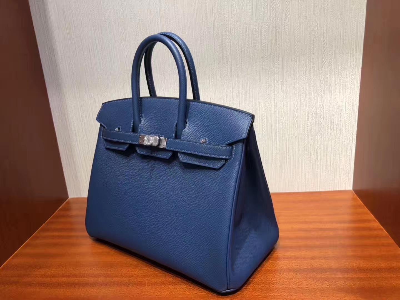 Fashion Hermes S4 Deep Blue Epsom Leather Birkin Bag25CM Silver Hardware