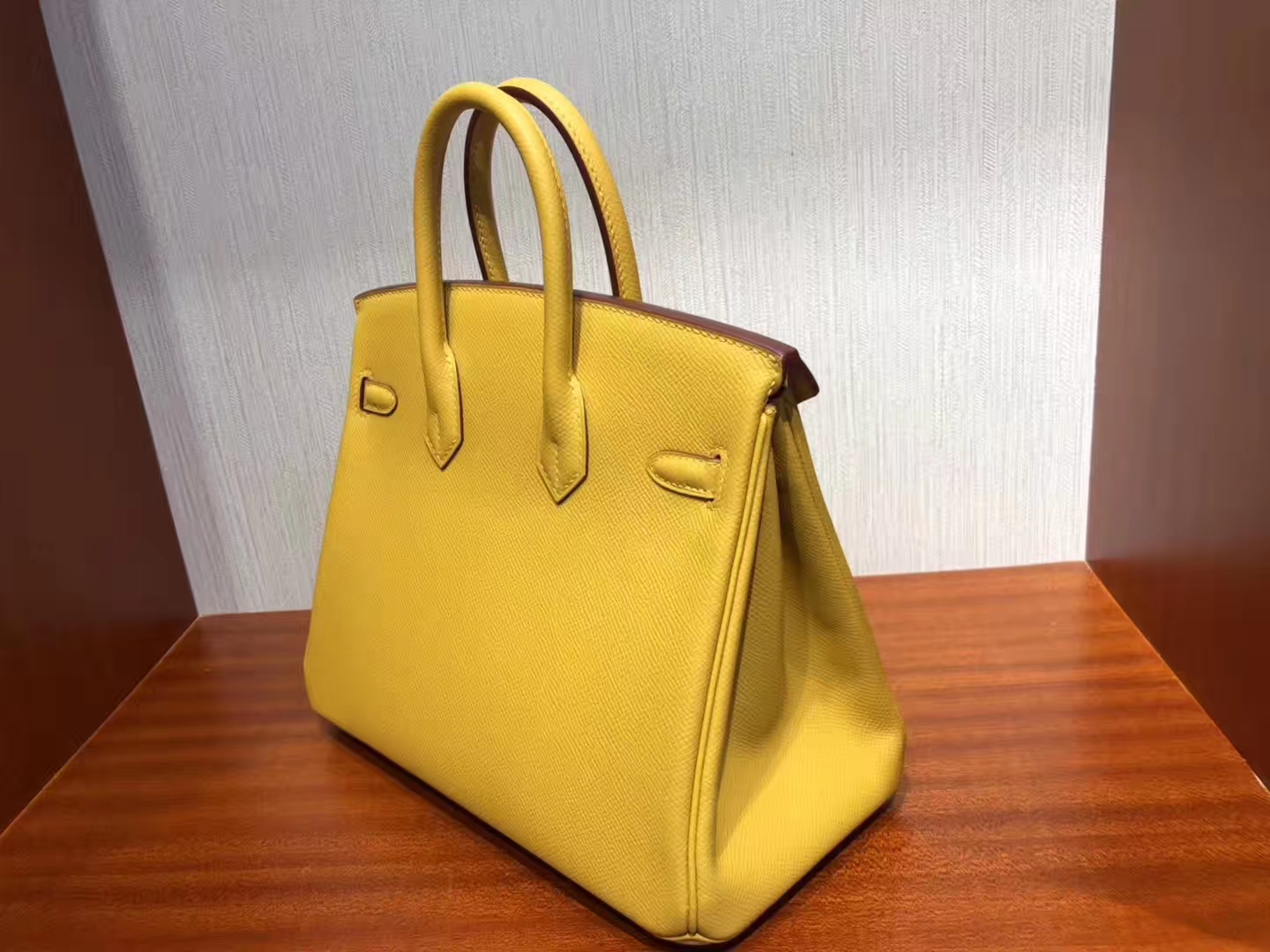 Sale Hermes Epsom Birkin25CM Bag in 9D Ambre Yellow Silver Hardware