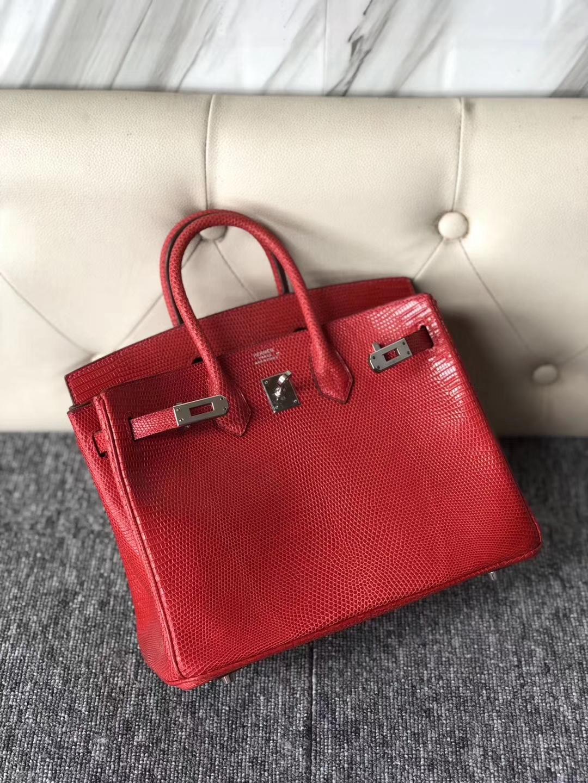 Luxury Hermes Q5 Rouge Casaque Lizard Birkin Bag25CM Silver Hardware