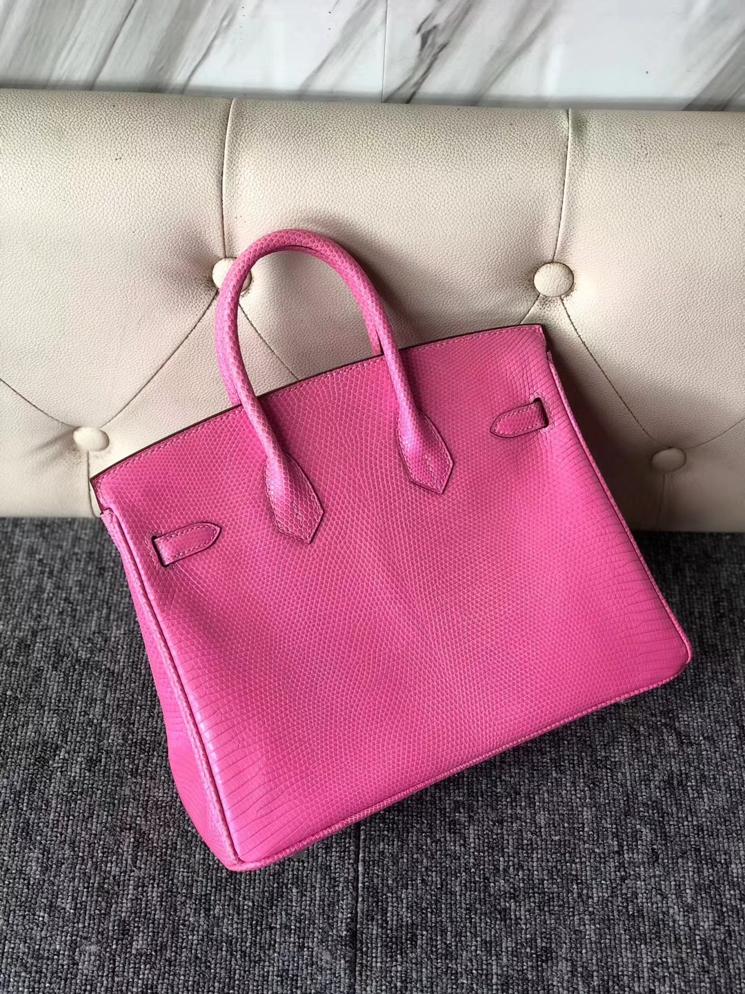 Fashion Hermes Shiny Lizard Birkin Bag25CM in Rose Strawberry Silver Hardware