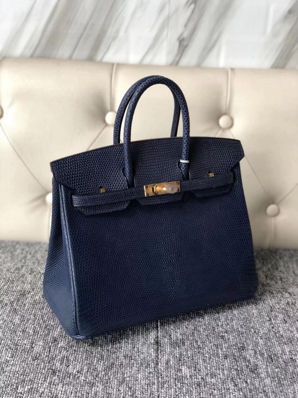 Elegant Hermes 7K Blue Saphir Shiny Lizard Birkin25CM Bag Gold Hardware