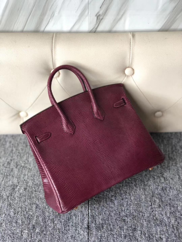 Discount Hermes Shiny Lizard Birkin Bag25cm in CK57 Bordeaux Gold Hardware