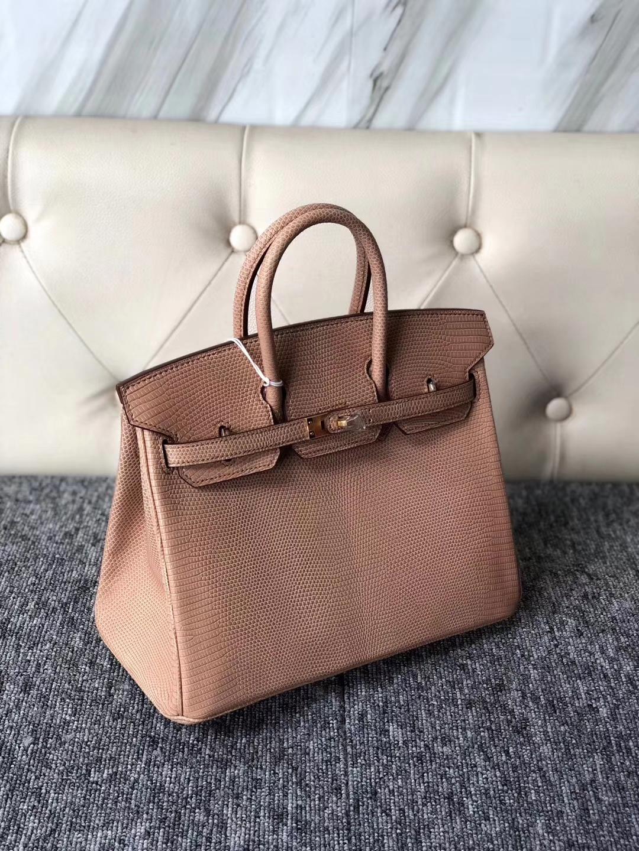 Stock Hermes Apricot Shiny Lizard Birkin Bag25cm Women's Bag Gold Hardware