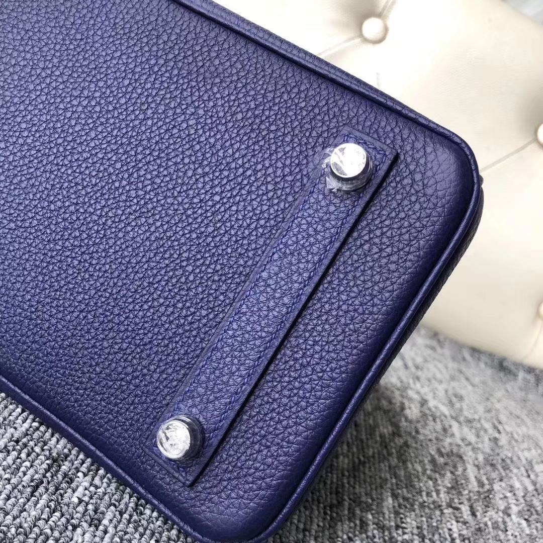 Customize Hermes M3 Blue Encre Shiny Crocodile/Togo Leather Birkin25cm Bag
