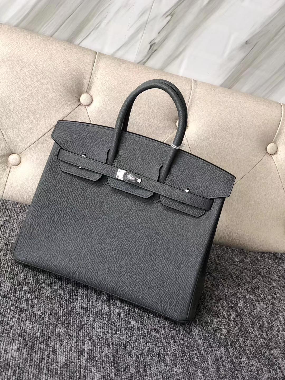 Customize Hermes Vert Apricot Epsom Birkin Bag25cm Silver Hardware