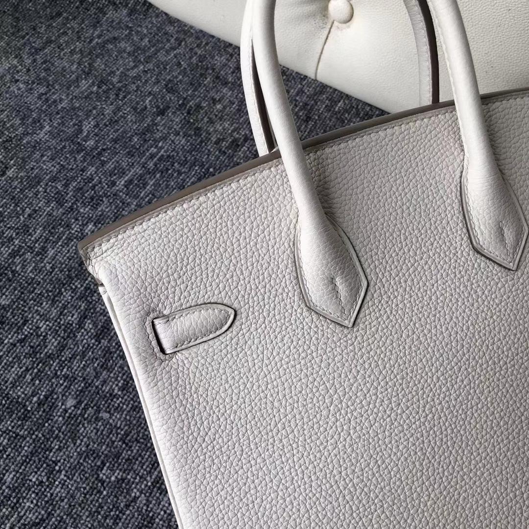 Noble Hermes Togo Calf Birkin Bag25CM in 8L Beton White Silver Hardware