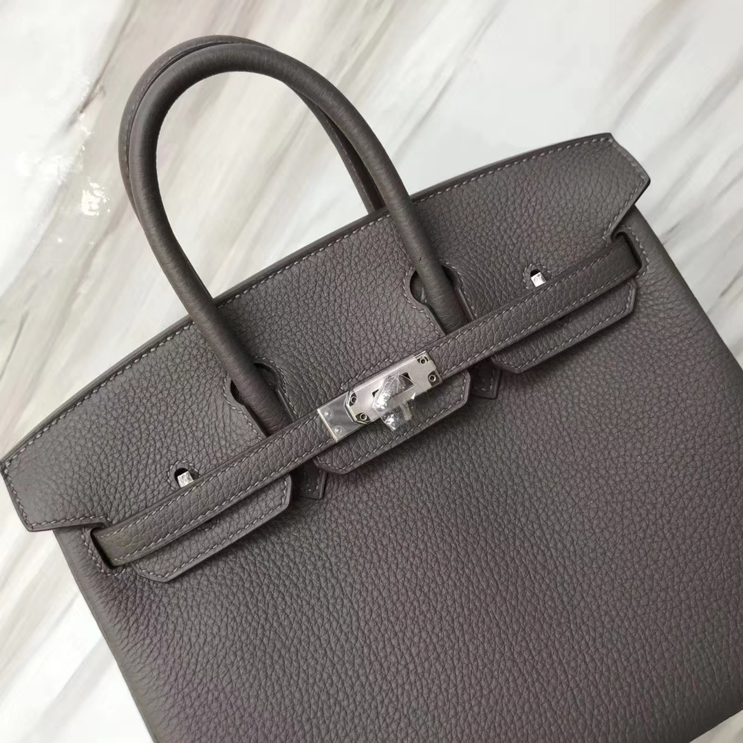 Elegant Hermes Togo Calf Birkin25CM Bag in 8F Gris Etain Silver Hardware