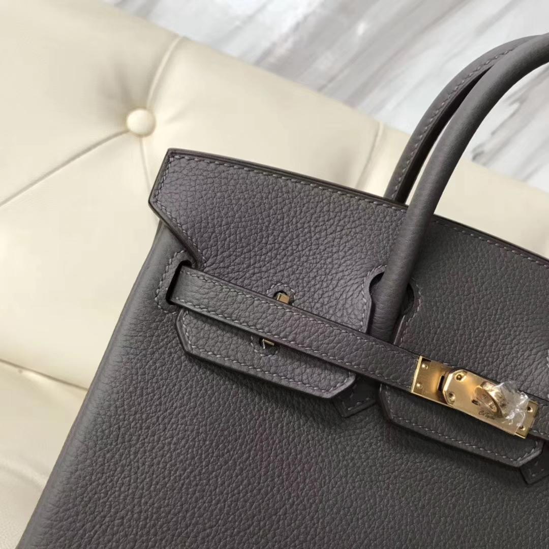 Wholesale Hermes 8F Gris Etain Togo Calf Birkin Bag25cm Gold Hardware