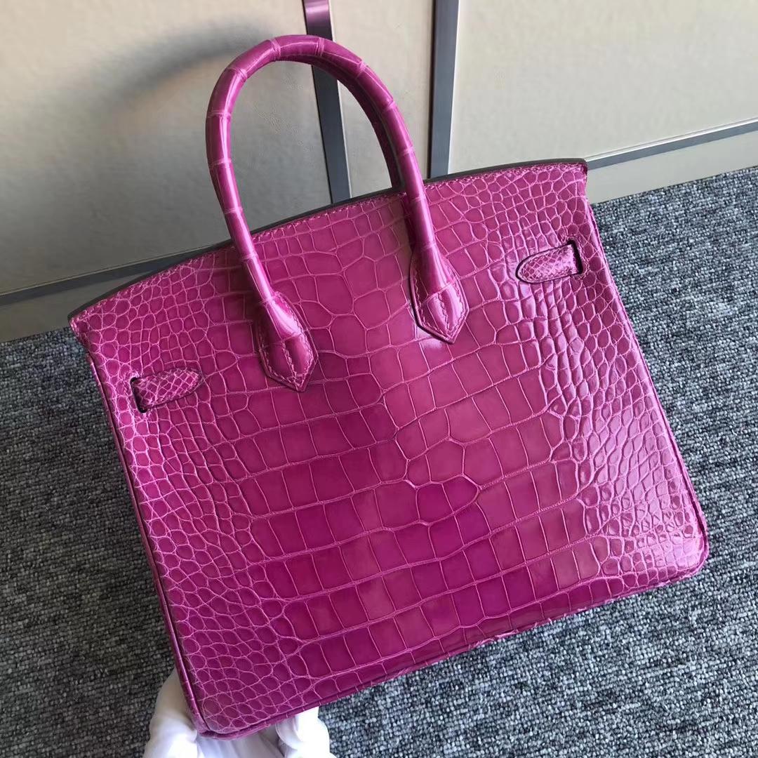 Luxury Hermes J5Rose Scheherazade Shiny Crocodile Birkin Bag25CM Gold Hardware