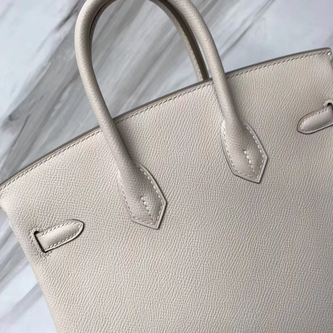 Fashion Hermes CK10 Craie White Epsom Calf Birkin Bag25CM Gold Hardware