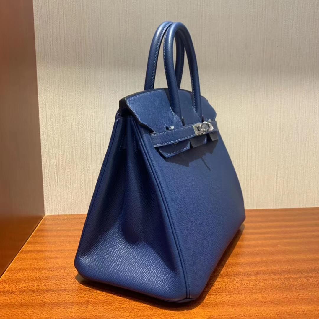 Stock Hermes S4 Deep Blue Epsom Calf Birkin Bag25CM Silver Hardware